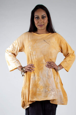 Steel Pony Genevieve Cotton A-Line Tunic with Floral Embroidery and pockets Sunshine