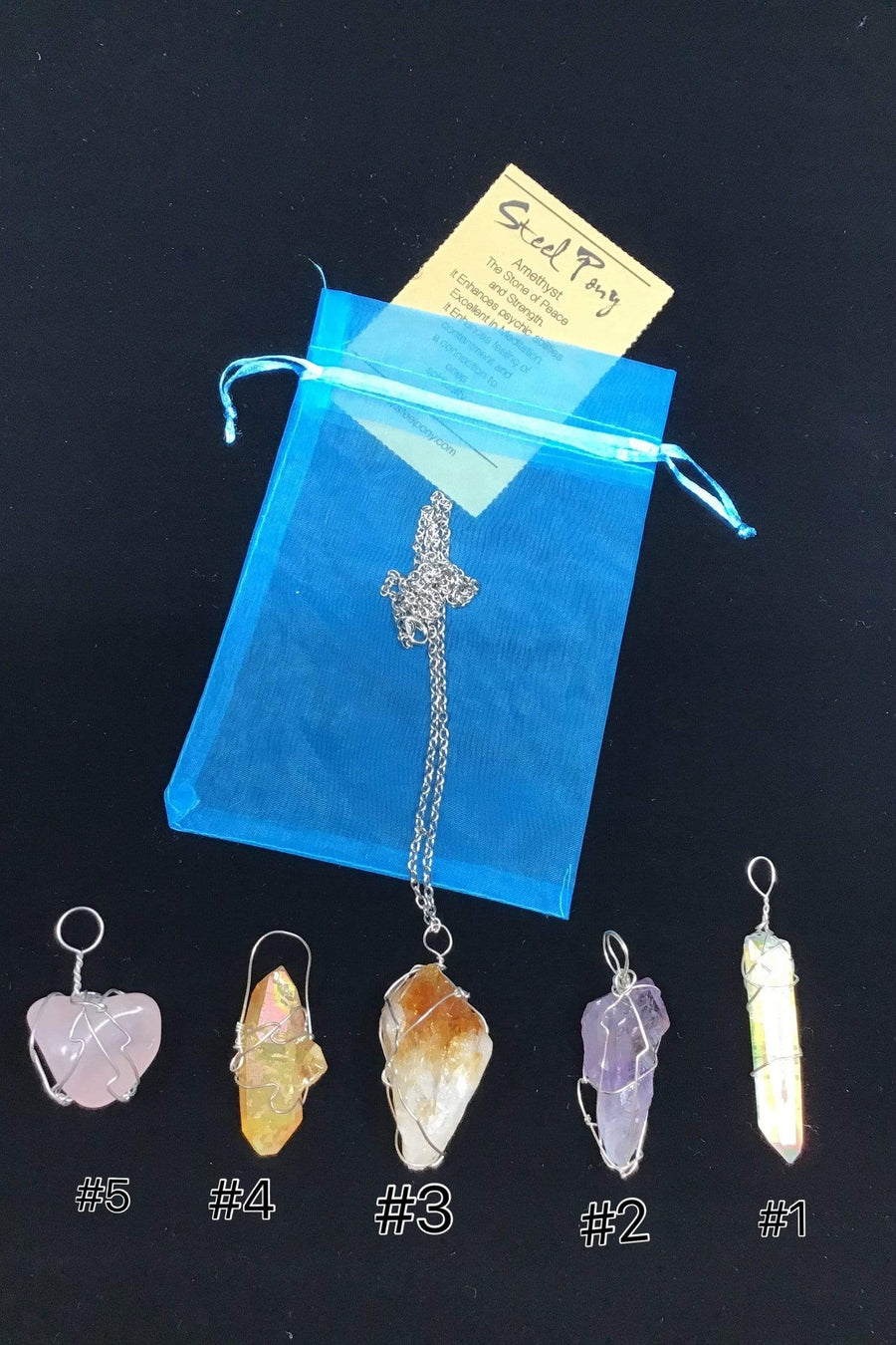Steel Pony Necklace Healing Crystal Necklaces