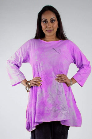 Steel Pony Genevieve Cotton A-Line Tunic with Floral Embroidery and pockets Magenta