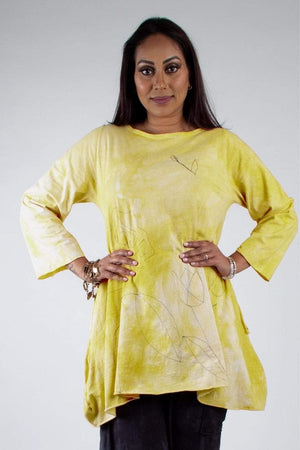 Steel Pony Small / Spring Kiwi Genevieve Cotton Tunic with Embroidery