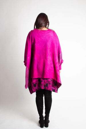 Steel Pony tunic Clara Cotton Knit Poncho with Quilt detail Magenta Back View