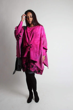 Steel Pony tunic Clara Cotton Knit Poncho with Quilt detail Magenta
