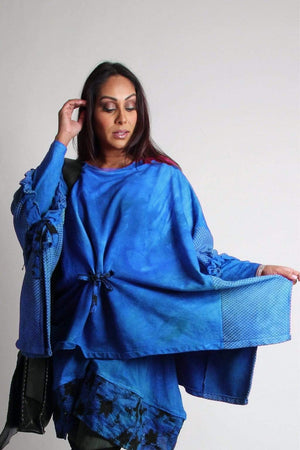 Steel Pony tunic Clara Cotton Knit Poncho with Quilt detail Thalo