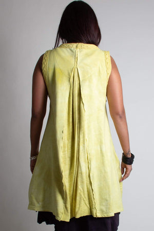 One size hand dyed cotton vest with full bottom in Kiwi back view