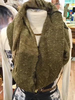 Steel Pony Winter Green Infinity Sweater Scarf on the Rack