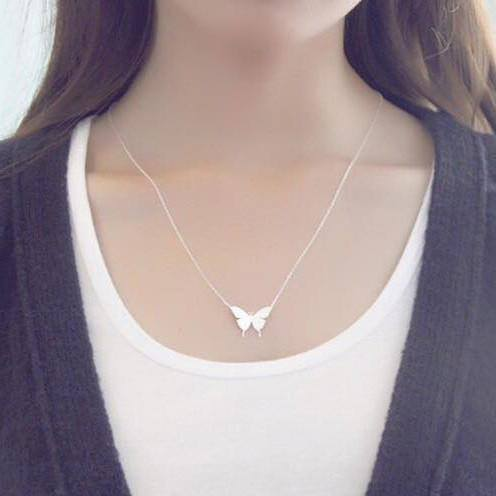 Butterfly necklace สร้อยคอเงิน 92.5% จี้รูปผีเสื้อ สไตล์มินิมอล (made in Thailand) premium quility