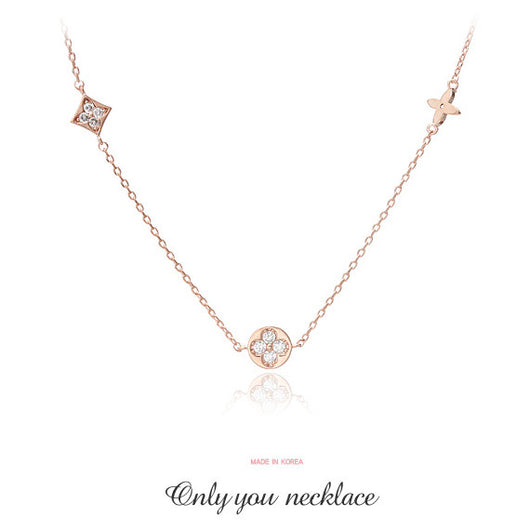 Only you necklace สร้อยคอเงิน 92.5 % 14KGP จี้เพชร CZ **made in Korea**