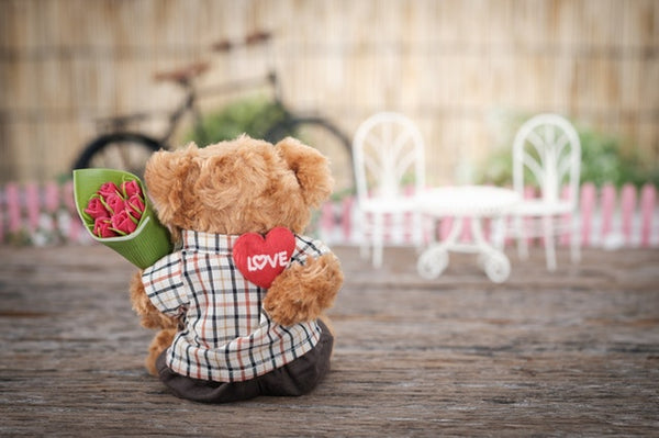 stuff toys - teddy bear holding flowers