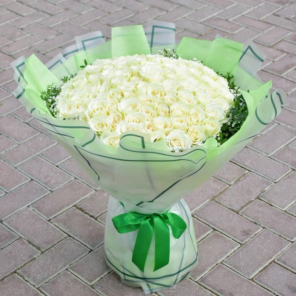 Princess - White Roses -  Flower Delivery - Flower Station Dubai