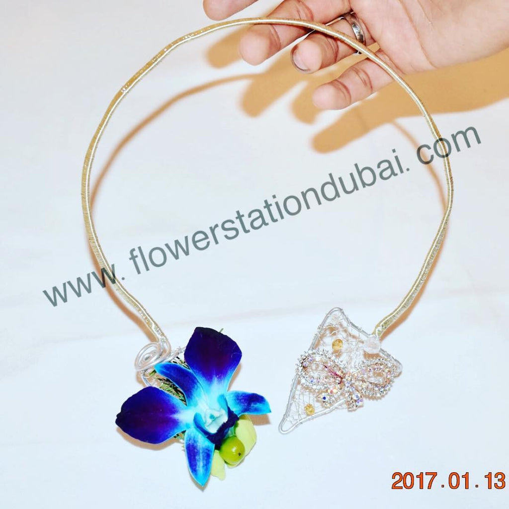 Necklace - Blue Orchid -  Floral Jewelry - The Flower Station