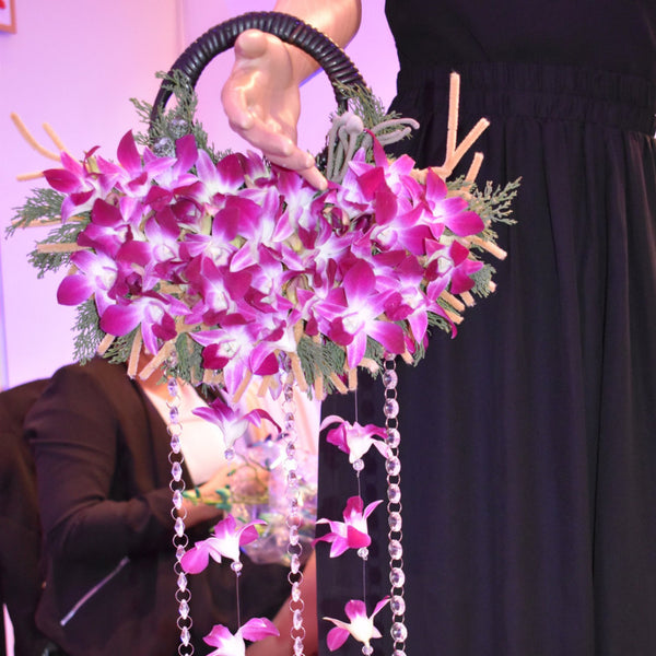 Hanging Bouquet - Purple Orchids -  Floral Jewelry - The Flower Station