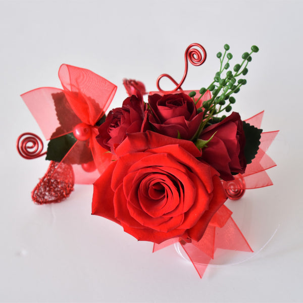 Corsage - Red roses -  Floral Jewelry - The Flower Station