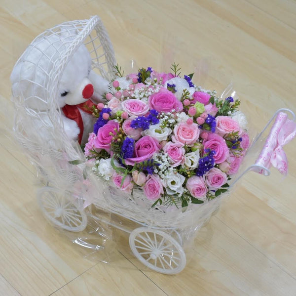 Baby Girl/ Baby Boy - Flower Arrangement -  Flower Gift  by Flower Station Dubai