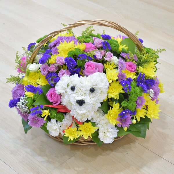 My Puppy - Flower Basket -  Flower Gift  by Flower Station Dubai