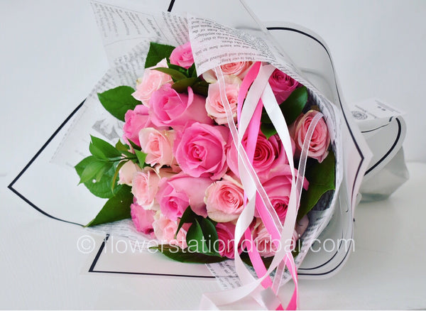 Pink Blush - Mono Bouquet -  Flower Gift  by Flower Station Dubai
