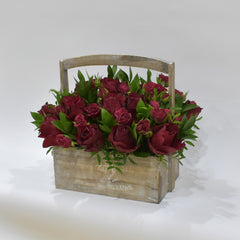Just Red - Flower Basket -  Floral Gifts - The Flower Station