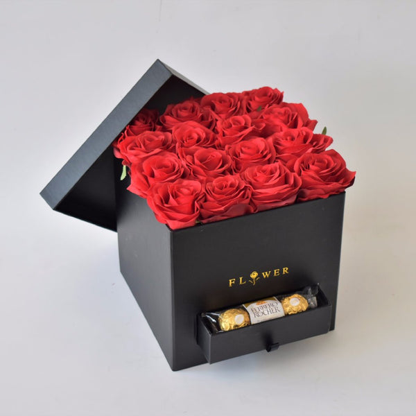Red Romance - Flower Box -  Floral Gifts - The Flower Station