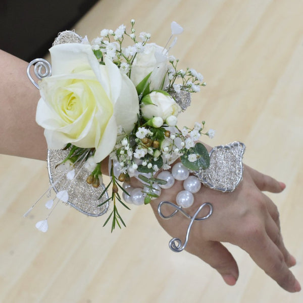 Corsage and Boutonniere- White Roses with White Accent -  Floral Jewelry - The Flower Station