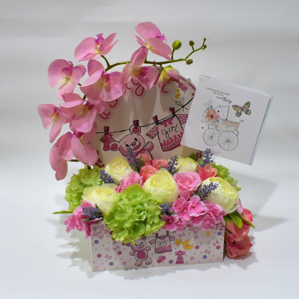 It's a Baby Girl- Basket -  Flower Gift  by Flower Station Dubai