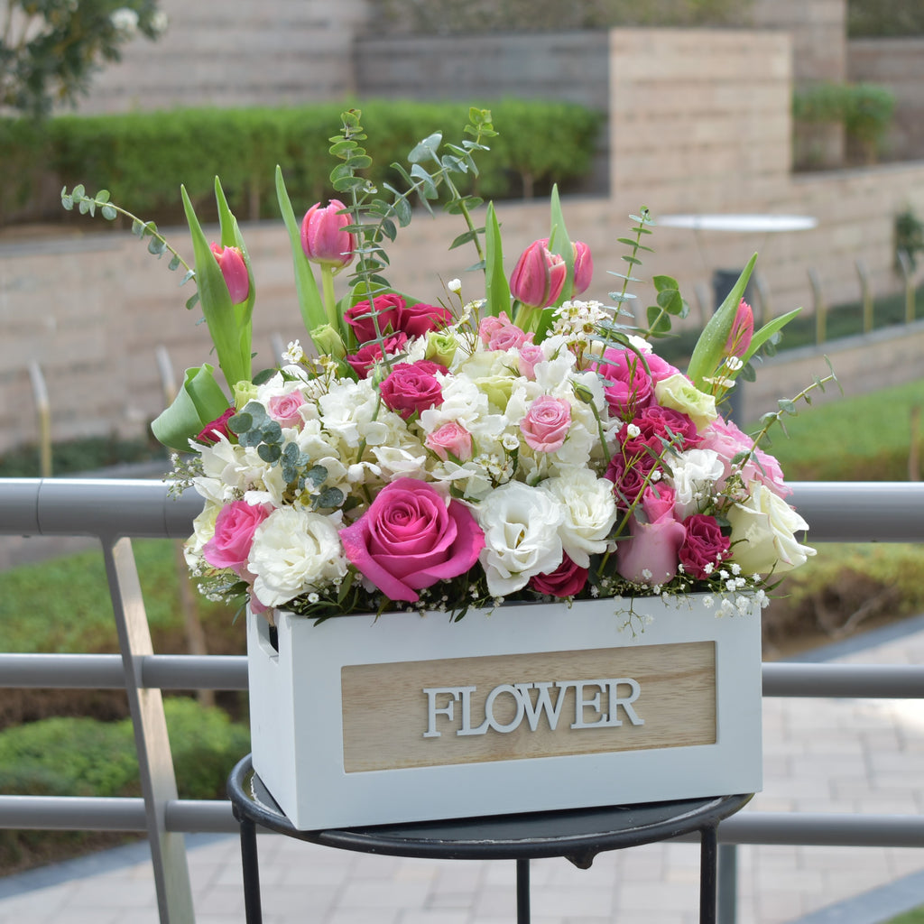 Sweet Love - Flower Basket -  Flower Gift  by Flower Station Dubai