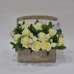 Just White - Flower Basket -  Floral Gifts - The Flower Station