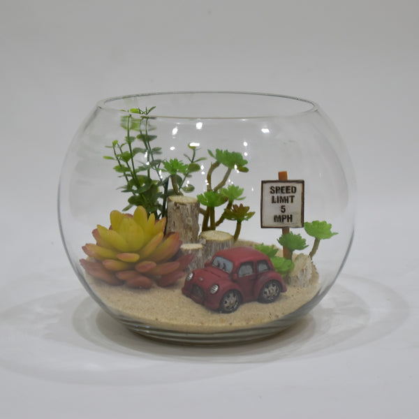 Terrarium Car - Artificial Flowers -  Flower Delivery - Flower Station Dubai