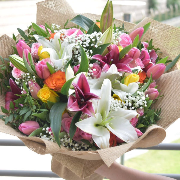 Rainbow - Mixed Bouquet -  Flower Gift  by Flower Station Dubai