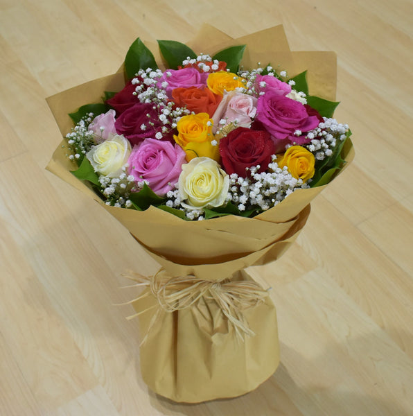 You Brighten Up My  Day - Mixed Roses Bouquet -  Flower Gift  by Flower Station Dubai