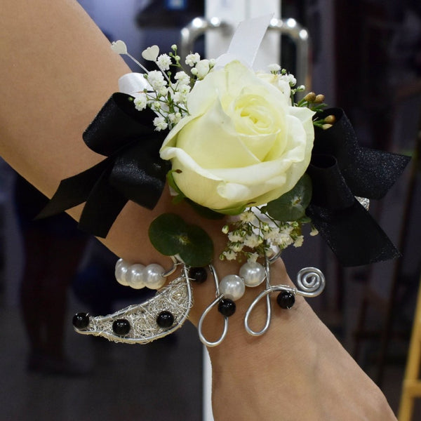 Corsage and Boutonniere- White Roses with Black Accent -  Floral Jewelry - The Flower Station
