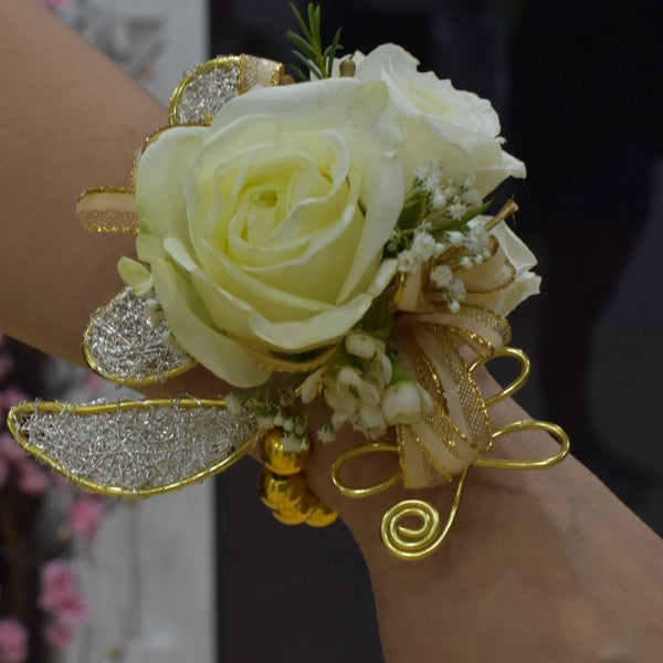 Corsage and Boutonniere- White Roses with Gold Accent -  Floral Jewelry - The Flower Station