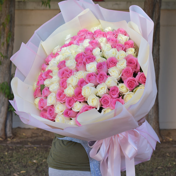 101 pink and white rose bouquet