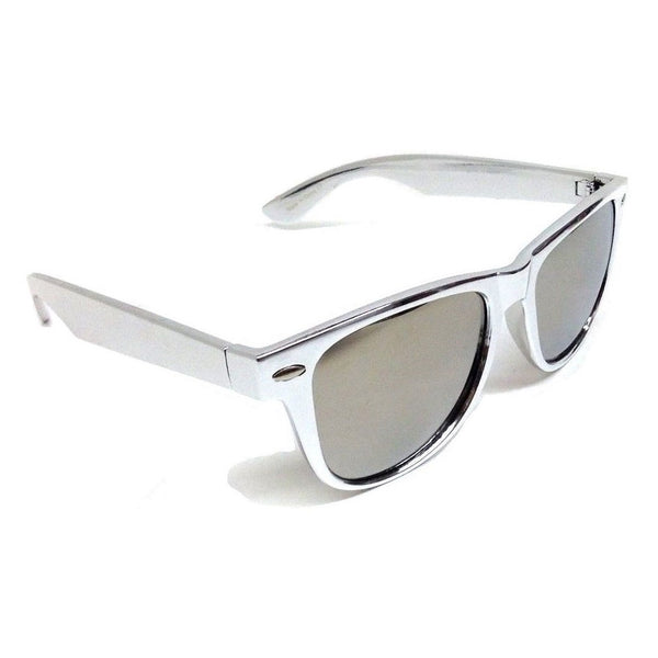Silver Platinum Metallic Square Sunglasses Mirror Lenses