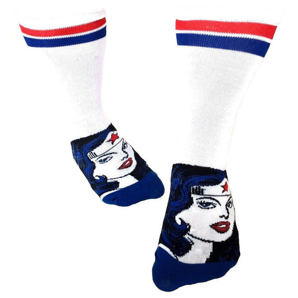DC Comics Wonder Woman Striped Big Face Juniors Crew Socks