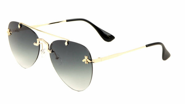 Small 3D Killer Bee Luxury Rimless Aviator Sunglasses