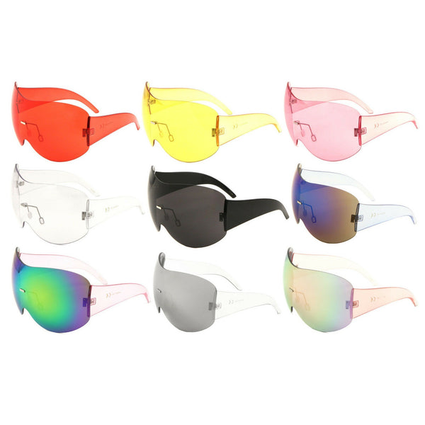 Alps Rimless Oversized Shield Mono Lens Futuristic Retro Sunglasses