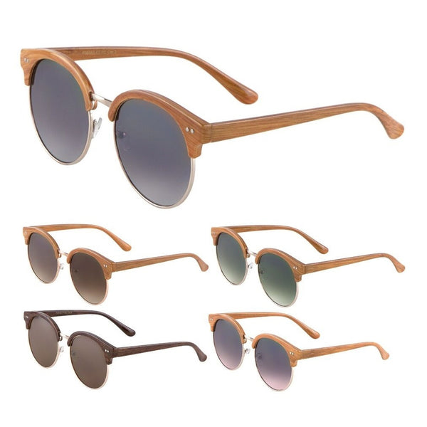 Faux Bamboo Wood Print Horn Rimmed Round Sunglasses