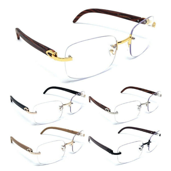 Dasher Rimless Square Metal & Faux Wood Eyeglasses / Clear Lens Luxury Sunglasses Frames
