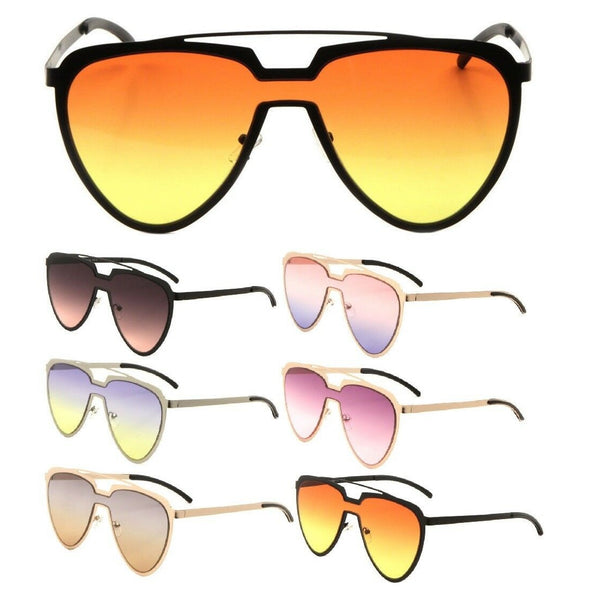 Cleopatra XL Womens Oversized Shield Aviator One Piece Lens Sunglasses