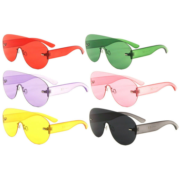 Aspen Rimless Oversized Shield Mono One Piece Lens Futuristic Sunglasses