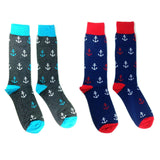 Fine Fit Casual Novelty Anchor Nautical Sailor Ship Boasting Pattern Knit Crew Socks