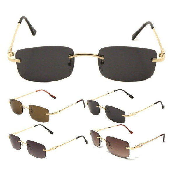 Bogart Slim Rimless Rectangular Luxury Sunglasses