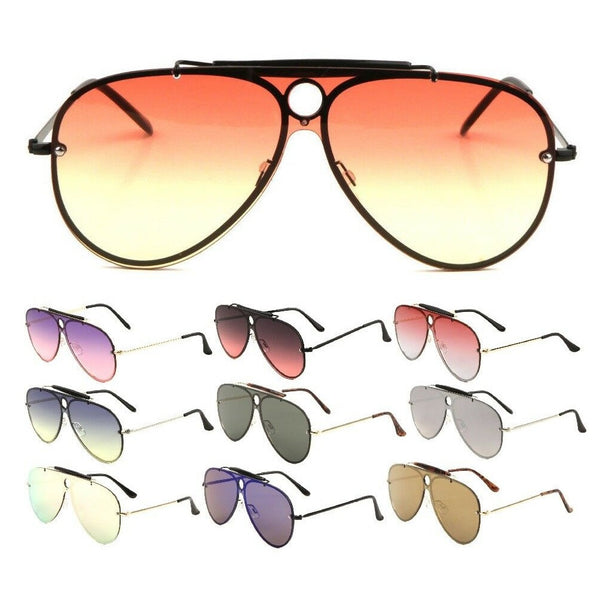 Classic Outdoorsman Retro Pilot Shield Aviator Sunglasses