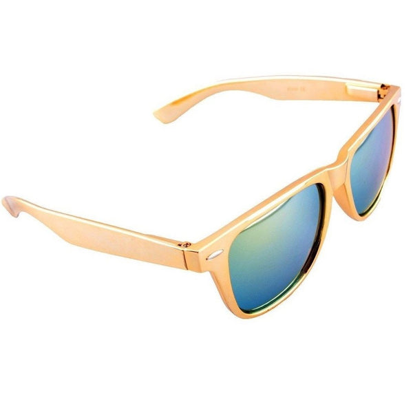 Gold Metallic Square Sunglasses Iridium Mirror Lenses