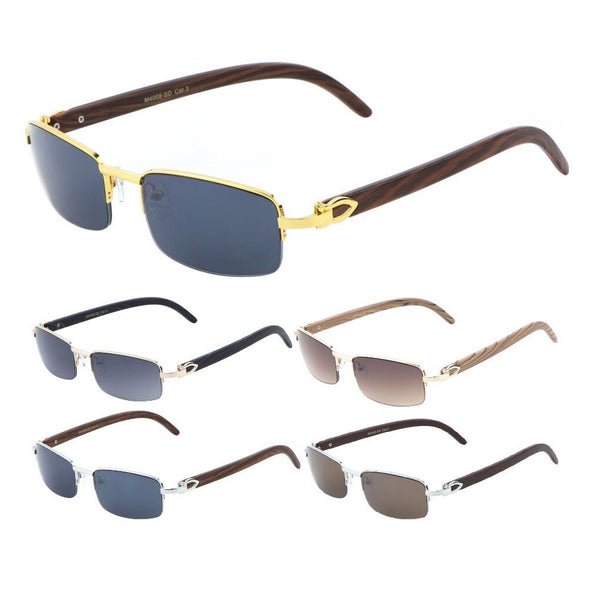 Debonair Metal & Faux Wood Slim Half Rim Rectangular Luxury Sunglasses