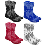Leaf Republic Paisley Bandana Pattern Knit Crew Socks
