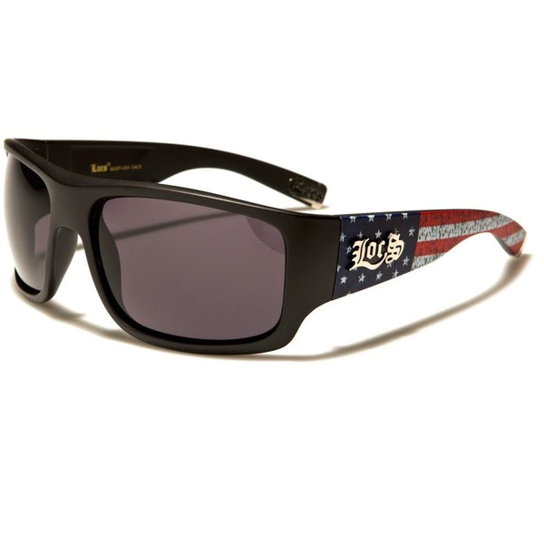 Locs Square USA Flag Patriotic Sport Wrap Around Sunglasses