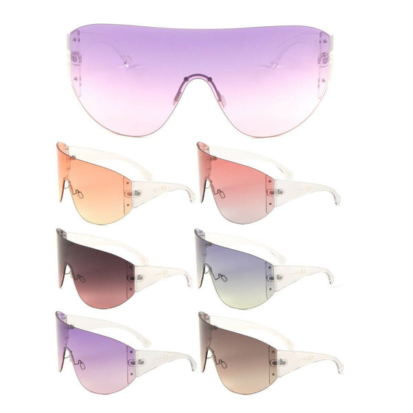 Andes Rimless Oversized Shield Mono Lens Futuristic Retro Sunglasses