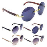 Diplomat Rimless Round Metal & Faux Wood Frame Sunglasses