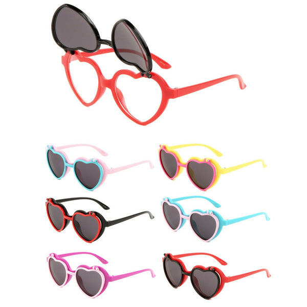 Kids Youth Girls Heart Shaped Cute Flip Up Sunglasses