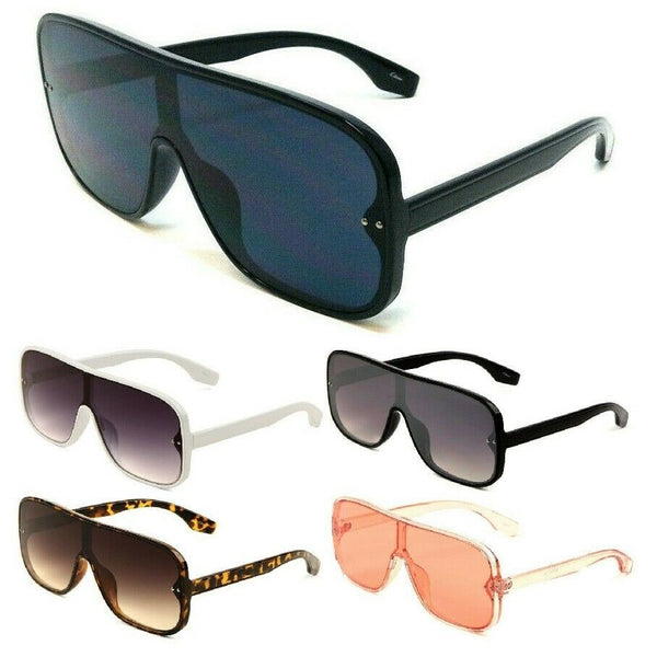 Flat Top Oversized Shield Square One Piece Lens Aviator Sunglasses